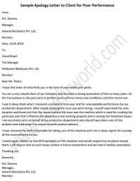 Apologize Sample Letters Apology Letter To Client For Poor Performance Hr Letter