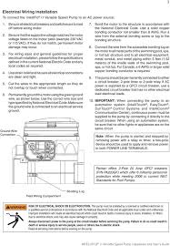 intelliflo i variable speed ultra energy efficient pump pdf for wiring sizes and general guidelines for proper electrical installation please follow the specifications defined