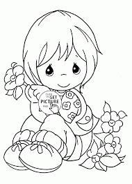 Cute Girl And Flowers Spring Coloring