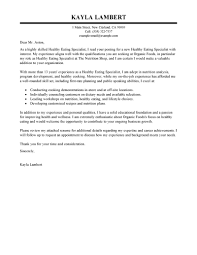 Best Education Food Specialist Cover Letter Examples Ideas
