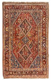 a qashqai wool rug 7 feet 8 inches x 5 feet by leslie hindman auctioneers bidsquare