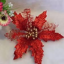 Amazonde Glitzer Weihnachtsstern Kunstblume Hohl Für