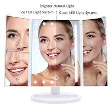Wondruz Lighted Makeup Mirror Details About Wondruz Makeup Mirror001 Trifold Mirror White Upgraded Version With 24 Lights