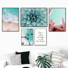 Beach Coconut Tree Succulents Wall Art Canvas Painting Life Quotes Nordic Posters And Prints Wall Pictures