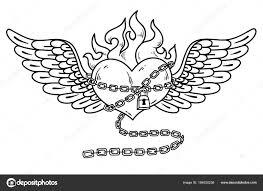 летающие сердца в цепи любви пылающие сердца татуировки векторное