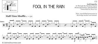 Percussion Bells Notes Chart Fool In The Rain Led Zeppelin Drum Sheet Music