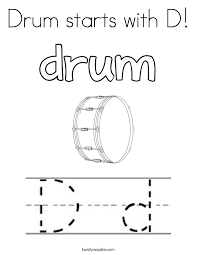 Small Picture Drum starts with D Coloring Page Twisty Noodle