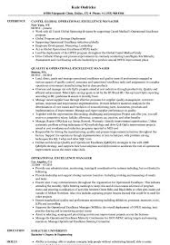 Operational Excellence Example Operational Excellence Manager Resume Samples Velvet Jobs