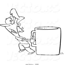 Vector of a Cartoon Woman Pulling a Huge Coffee Cup - Outlined ...
