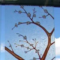 vanity cherry blossom sans soucie frosted painted glass banana cherry blossom tree door glass by sans so