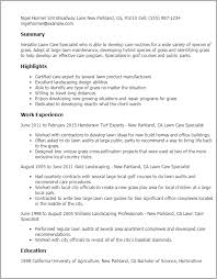 Resume Templates: Lawn Care Specialist