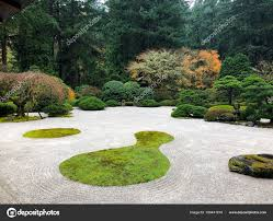 japanese garden portland oregon stock photo