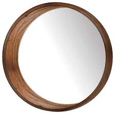Round Wall Mirror, Brown rustic-wall-mirrors