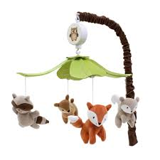 Woodland Tales Musical Baby Crib Mobile by Lambs \u0026 Ivy Multicolor Forest Animals