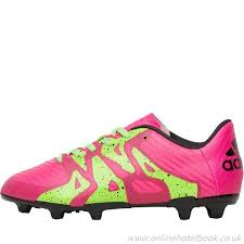adidas x 15 3 fg ag football football boots black pink black green green junior shock pink