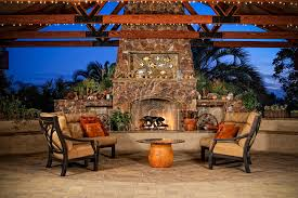 western outdoor living room custom fire place