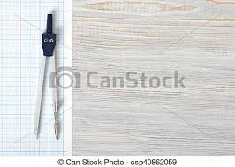 Compass On Graph Paper In Top View With Copy Space