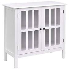 white console cabinet.  Cabinet Tangkula Console Cabinet Storage White Glass Door Sideboard Table  Server Display Buffet White With I