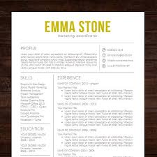 Resume Doc Template Cool Resume CV Template The Emma Resume Design In Gold Instant