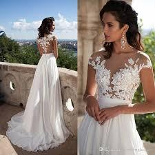 sexy bridal summer dresses 2017 illusion bodice beach wedding