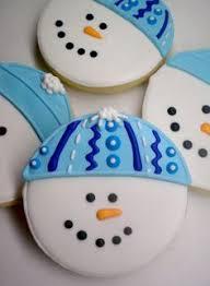 round christmas sugar cookies. Wonderful Cookies Snowmen Out Of Round Cookies Christmas Sugar  On Round Cookies