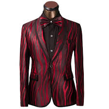 Suit Pattern New 48 Fg48 Luxury Men Suit Unique Red Zebra Pattern One Button Suit