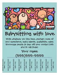 Free Printable Babysitting Flyers Under Fontanacountryinn Com