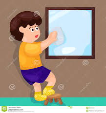 child looking in mirror clip art. royalty-free stock photo. download boy wiping mirror child looking in clip art