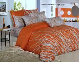 orange grey tree cotton bedding set 1 duvet cover 2 pillow sham full