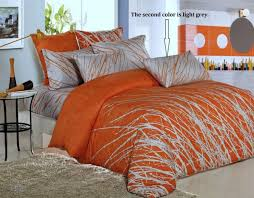 orange grey tree cotton bedding set 1 duvet cover 2 pillow sham full