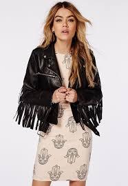 missguided fringed back faux leather biker jacket