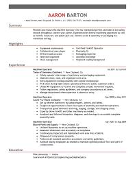 Production Machine Operator Resume For Job Description