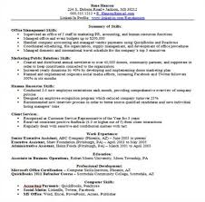 skill set resume example