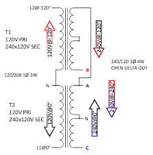 2 phase 208 to 3 phase 230 page 2 in essence that inverts the l2 n winding from 120 to 60 see diagram below primary voltage corrected