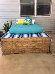 Covered up ugly bilco doors and turned it into a comfy poolside ...