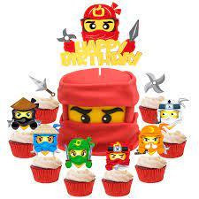 Amazon.com: 49Pcs Ninja Cake Toppers, Ninja Themed Party Cake Decorations,  Happy Birthday Felt Cake Topper and Cardstock Ninja Cupcake Toppers, Kids  Birthday Cake Decoration Baby Shower Party Supplies: Toys & Games