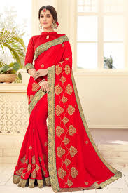 satin silk fabric designer saree with embroidery work on red color from kalaniketan