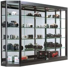 ... Illuminated Wall Display Cabinet Deep Shelves Mounted Cabinets Glass  Doors Full Size