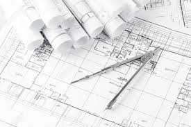 architecture blueprints. Beautiful Architecture Rolls Of Architecture Blueprints And House Plans On The Table Drawing  Compass Stock Photo  Inside Architecture Blueprints