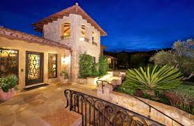 Italian style house design with grand front entry