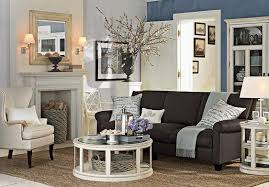 ... Ideas For Living Room Magnificent Classic Design Black Fabric Sofa  Round Wooden Coffee Table Potted Flowers