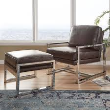 Rafael Chrome Chair and Ottoman by iNSPIRE Q Modern - Free Shipping Today -  Overstock.com - 23145743