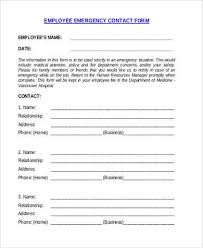 In Case Of Emergency Form For Employees Employee Emergency Contact Form Samples 8 Free Documents In Word Pdf