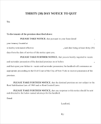 30 day notice letter to ask tenants to quit sample letter 30 day notice to vacate