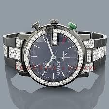 gucci watches chrono mens diamond watch 7 50ct black