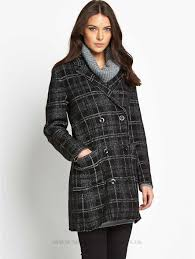 sel check coat womens jackets winter coats womens coats colour black white