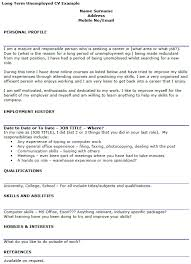 long term unemployed cv example icover org uk example of personal statement for resume