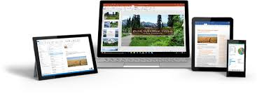 google office pictures. a windows tablet laptop an ipad and smartphone showing office 365 google pictures y