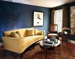 Cobalt Blue Wall Color With Brown Printed Rug And Oval Coffee Table For  Elegant Living Room Decorating Ideas