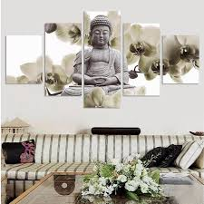 Large Painting For Living Room Unframed 5 Panel Large Orchid Background Buddha Painting Fengshui